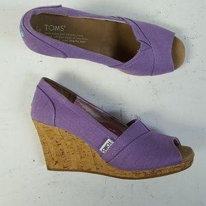 Toms Cork Wedge Heels Open Toe Pump Shoe